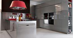 Grey with Red Pops Kitchen Design Ideas