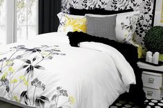 Tiana by Alamode is a breath of fresh air with a unique floral pattern that begins at the foot of the bed and dances up. By mixing the white, greys, blacks, and yellows Tiana creates a lovely pattern that is modern yet traditional and appeals to all.  Made of 100 percent cotton and featuring embroidery this bedding is machine washable. Available in Full through King size. Accessories include the great decorative cushions listed beneath the photo such as the Wave and Hounds tooth. Add in the…