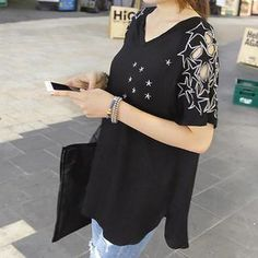 Buy 'REDOPIN – Star-Embroidered T-Shirt' with Free International Shipping at YesStyle.com. Browse and shop for thousands of Asian fashion items from South Korea and more!