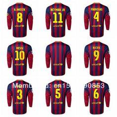 3ca785a24 Messi long-sleeved jersey football season 13 14 NEYMAR JR Anderson NIESTA  XAVI PIQUE FABREGAS team jerseys free shipping