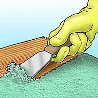"How to strip paint off wood - Great post - use twine to ""scrape"" spindles, wood chips to scour and absorb extra chemical Stripping Paint From Wood, Stripping Furniture, Paint Stain, Remove Paint, Scrape Painting, Diy Painting, Painting On Wood, Painting Trim, Upholstered Furniture"