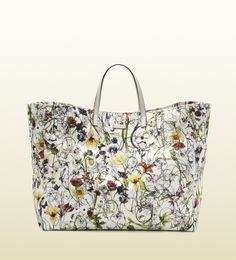 Floral Trends for Spring from Gucci -- Large Flora Infinity Canvas Tote Leather High Heels, White Leather, Gucci Tote Bag, Gucci Floral, Colorful Shoes, Purse Styles, Gucci Handbags, Designer Handbags, Bags