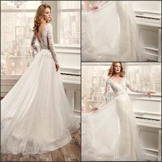 Wedding Dress Shopping 2016 New Sexy Sheer Long Sleeves Lace Wedding Dresses V Neck Organza Skirt Applique Beaded Waistband Wedding Bridal Gown Wedding Dresses Ball Gown From Enjoyweddinglife, $154.54| Dhgate.Com