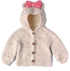 Crochet Baby Girl Sweater, Bear Hood Baby Sweater, Crochet Baby Sweater, Crochet Cotton Baby Clothes, Cotton Baby Girl Sweater