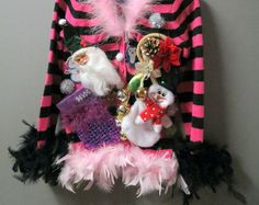 Girls Kids Tacky Ugly Christmas Sweater Feather Boa Foo Foo Trim, Santa Christmas Tree Bells pullover  Size S 5/6 Darling