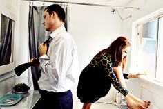 Take picture while getting ready for engagement photos... shows the personalities :)