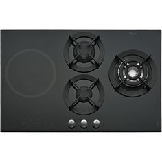 4 Burner Gas on Glass Induction and Gas Hob in Black AKT 477/IX