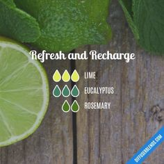 Refresh and Recharge - Essential Oil Diffuser Blend Lime, eucalyptus, rosemary Essential Oils Guide, Essential Oil Uses, Doterra Essential Oils, Young Living Essential Oils, Yl Oils, Sante Bio, Essential Oil Diffuser Blends, Perfume, Aromatherapy Oils