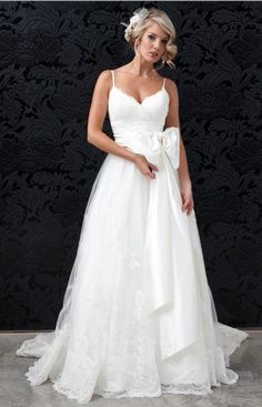 Wedding Dress Lace, Elegant Tulle & Satin Spaghetti Straps Neckline A-line Wedding Dresses, Unique and inexpensive wedding gowns that wow! Shop our wedding dresses online and in-store for top styles and trendy bridal looks. Find your dream Cute Wedding Dress, Fall Wedding Dresses, Colored Wedding Dresses, Wedding Attire, Perfect Wedding, Wedding Gowns, Dream Wedding, Tulle Wedding, Party Dresses