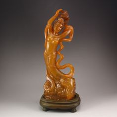 Chinese Natural Shoushan Stone Statue - Beautiful Girl
