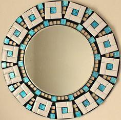 Beautiful Handmade Mosaic Mirror Bevelled Edge white ceramic and blue foiled glass  Mosaic Tile