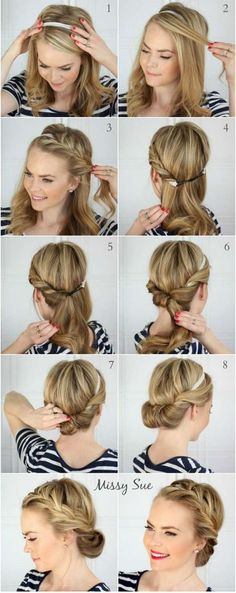 Tuto coiffure facile cheveux courts et longs Tuto hairstyle long and short hair Easy Hairstyles For Long Hair, Headband Hairstyles, Summer Hairstyles, Braided Hairstyles, Wedding Hairstyles, Cool Hairstyles, Simple Elegant Hairstyles, Office Hairstyles, Hairstyle Short