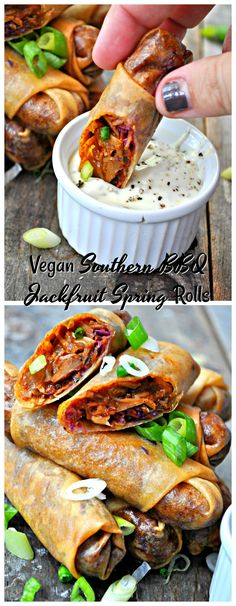BBQ pulled jackfruit and coleslaw make these vegan Southern BBQ jackfruit spring rolls out of this world. It's like a whole summer picnic in one bite!