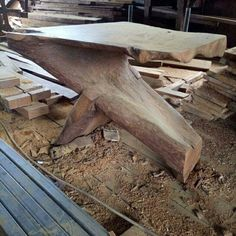 Natural Solid Coffee Table Iron Wood