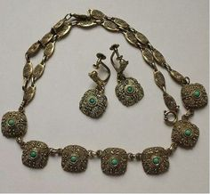 c1930 Theodor FAHRNER silver gilt filigree and turquoise necklace & earrings set