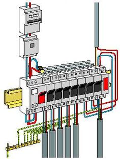 installation d un tableau électrique Electrical Panel Wiring, Electrical Shop, Electrical Circuit Diagram, Electrical Layout, Electrical Projects, Electrical Installation, Electrical Engineering, Electrician Wiring, Simple Electronics