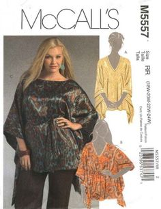 McCall's Sewing Pattern 5557 Misses' and women's tunics and belt    Description: Very loose fitting tunic has topstitched seams and neck edge va