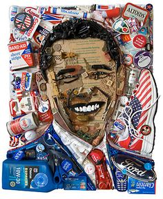 Assemblage as Socio-Political Commentary. Notice how the objects used to create this image indicate information about roles, events, influences, or perceptions of this person in/by the public. See the other examples on this site.