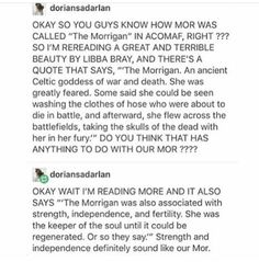 Mor >>>> Yeah yeah The Morrigan is a part of actual history, which Maas likes to use to break our fragile hearts