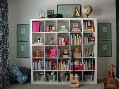 Playroom Cubes Bookshelf.  Also links to great crafty-mommy-type blog.