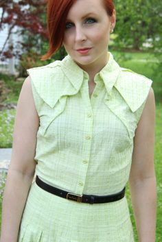Thrift and Shout: Cute Outfit of the Day: Shirtdress, Antonio Melani, Pierre Cardin  belt, undercut, red hair, asymmetrical haircut, vintage purse, thrifting, thrift shopping, thrift store, fashion