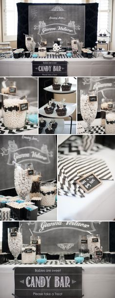 Cute Black and White Chevron Baby Shower with Pops of Aqua