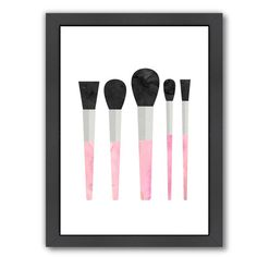 """East Urban Home Makeup Brushes Framed Graphic Art in Pink Size: 16.5"""" H x 13.5"""" W x 1.5"""" D"""