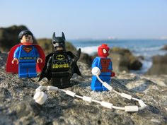 Catch the #Lego #marvel #heroes at the #beach in #Kaohsiung, #Taiwan #Superman #Batman #Spiderman