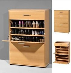 Alaska shoe cabinet in white with 3 drawer - 4164 modern, contemporary hallway furniture sale clearance. Shoe Storage Cupboard, Wood Shoe Storage, Wood Shoe Rack, Storage Cabinets, Shoe Drawer, Shoe Cabinets, Contemporary Hallway Furniture, Shoe Cabinet Design, Shoe Storage Solutions