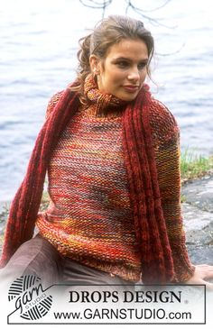 DROPS Pullover in Alpaca and Scarf in Highlander Drops Design, Magazine Drops, Unique Dresses, Free Pattern, Knitwear, Knitting Patterns, Knit Crochet, Sweaters For Women, Stitch