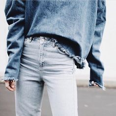Frayed denim top.