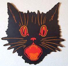 A Nostalgic Halloween: Vintage Black Cat Die Halloween Friday The 13th, Halloween Painting, Halloween Cards, Holidays Halloween, Spooky Halloween, Halloween 2018, Halloween Ideas, Halloween Costumes, Vintage Halloween Images
