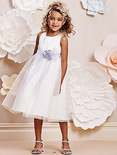 Alfred Angelo Style 6675: organza tea length flower girl dress with satin flowers, available in ivory or white