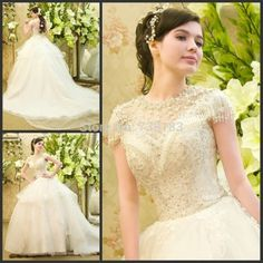 Beach 2015 vestido de noiva A-line Luxury Wedding Dresses with bow sexy backless Beading Wedding Gowns A-line Wedding Dress