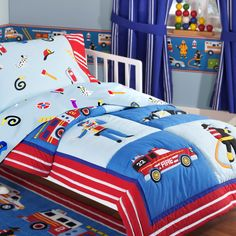 The Heroes toddler comforter features fire trucks, emergency vehicles and heroes printed on 100% cotton. The elements are outline quilted to make each motif pop. The set also includes a coordinating sheet set. The sheets are printed with bright, colorful hats, ladders and other emergency icons. The fitted sheet fits a toddler crib mattress. <br>