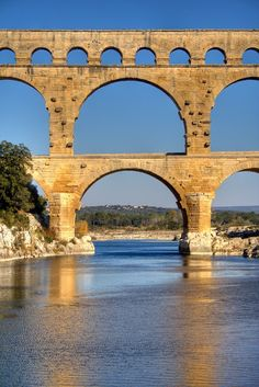 Pont Du Gard, ancient Roman aquaduct in Provence.