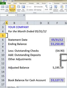 bank reconciliation spreadsheet microsoft excel personal