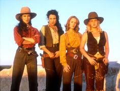 """Actors Madeleine Stowe, Mary Stuart Masterson, Andi MacDowell, and Drew Barrymore in western """"Bad Girls"""""""