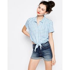 Monki Check Tie Front Blouse ($22) ❤ liked on Polyvore featuring tops, blouses, light blue, rayon blouse, light blue blouse, blue crop top, checkered crop top and tie front crop top