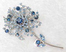 Large Unusual Dimensional Blue Vendome Flower Brooch - Vintage Jewelry Girl!