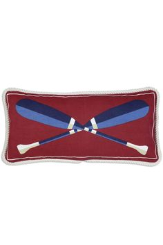 Nautical Crossed Paddles...  The crossed paddles pillow is a seafaring iconic decor. Classic navy and burgundy background give it a true sailorly look.  Our canvas pillows are made of top quality sailcloth which gives Laura Megroz's designs a wonderful crispness and richness of color. Many also have roping around the outside and all come with a polyfill insert.   12x24 Paddles Canvas Pillow by Chandler 4 Corners. Home & Gifts - Home Decor - Pillows & Throws Rhode Island