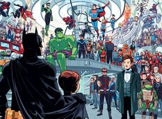 How Batman helped a cartoonist through a violent childhood trauma<------ my only thought are : is that the doctor, two marvel and DC in the same picture BIG NO Tardis, Batman Et Superman, Hulk Spiderman, Batman Robin, Dc Comics, Image Comics, Comic Art, Comic Books, Character Art