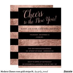Modern Cheers rose gold stripe New Years Eve Party Card