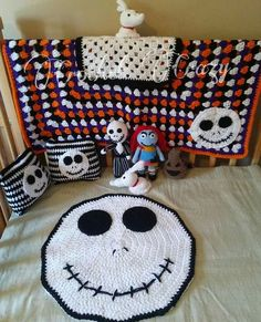 Nightmare Before Christmas Inspired Crib Set by LilMommaCrochet Halloween Quilts, Halloween Crochet, Crochet Gifts, Diy Crochet, Nightmare Before Christmas, Crochet Skull, Christmas Baby Shower, Jack Skellington, Crochet For Kids