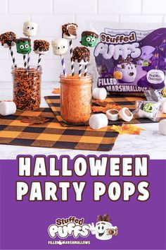 This is the monster marshmallow pop mash and it's a kitchen smash. But seriously, these easy and adorable bite-size snacks on a stick are the perfect addition to any Halloween celebration. Halloween Snacks For Kids, Hallowen Food, Halloween Treats For Kids, Halloween Goodies, Halloween Celebration, Halloween Desserts, Halloween Food For Party, Halloween Birthday, Halloween Games