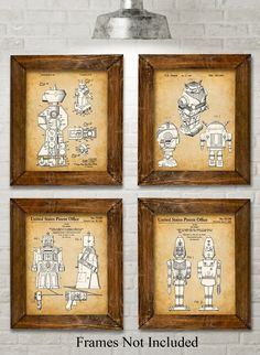 """Original Toy Robots Patent Art Prints - Set of Four Photos (8x10) Unframed. Bring a little whimsy to your household. These four prints show patents filed between 1955 and 1982. The original patent artwork has been reinterpreted by award winning artist Norm Lanier. * HOW FUN - These prints are guaranteed to be a great addition to any room. * READY TO FRAME - You get four 8"""" x 10"""" prints. 8"""" x 10"""" frames are super easy to buy here on Amazon or at any department or craft store. Choose the..."""