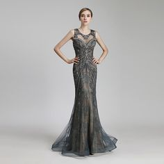 New Design Luxury Beading Long Mermaid Celebrity Dresses Vintage Steel Tulle Party Dress Women Fashion Red Carpet Gowns Long Sleeve Evening Dresses, Formal Evening Dresses, Formal Gowns, Evening Gowns, Celebrity Inspired Dresses, Celebrity Dresses, Custom Dresses, Vintage Dresses, Crystal Gown