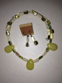 Serpentine and Shell Memory Wire Necklace & by CabochonsByBev, $15.00