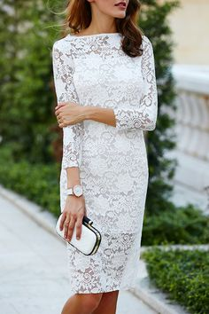 $19.47 Women's Lace Cut Out Over Hip 3/4 Sleeve Pure Color Dress - White