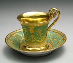 Exceptional Antique Empire Nymphenburg Bavarian Demitasse Tea Cup & Saucer #Empire #Nymphenburg